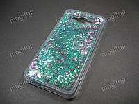 Силиконовый чехол с блестками Samsung Galaxy J7 Neo J701F (бирюзовый), фото 1