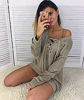 Оригинальный удлиненный пуловер со шнуровкой