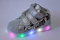 Высокие детские кроссовки с LED-подсветкой на девочку тм Boyan, фото 1