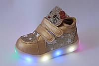 Высокие детские кроссовки на девочку с LED-подсветкой тм Boyang, р. 21,22,23,24,25,26, фото 1