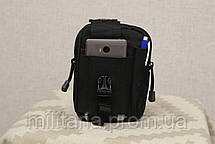 Тактическая универсальная (поясная) сумка - подсумок Mini warrior с системой M.O.L.L.E Black (001-black), фото 3
