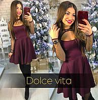 Платье женское сТкань-дайвинг и сетка. много расцветок фото реал супер качество лкар № селия