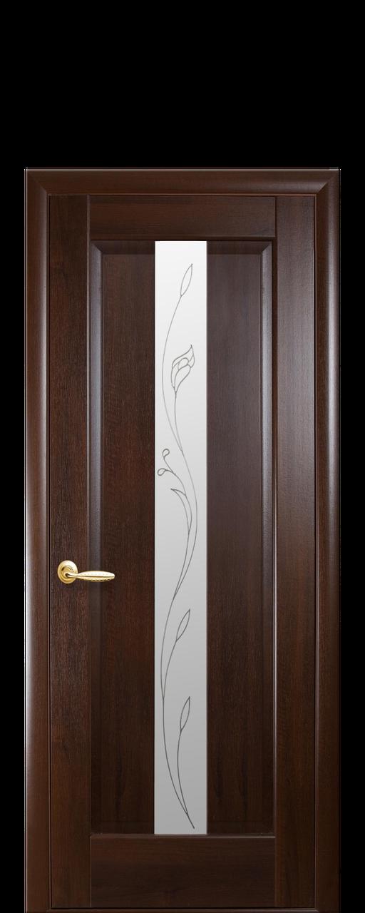 """Межкомнатные двери """"Премьера"""" полотно со стеклом сатин и рисунком"""