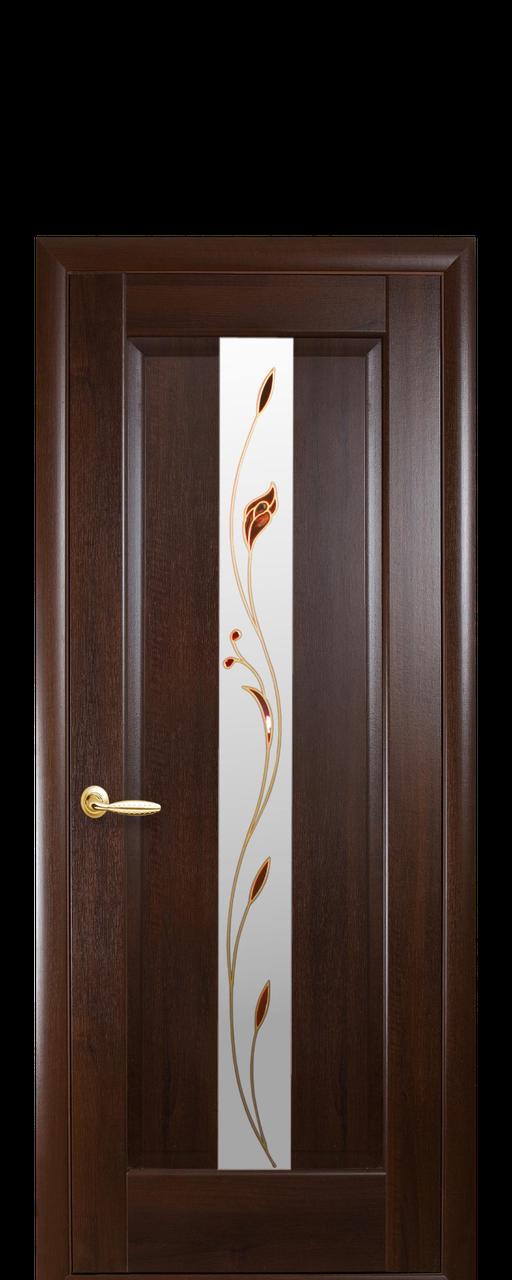 """Межкомнатные двери """"Премьера"""" полотно со стеклом сатин и цветным рисунком"""