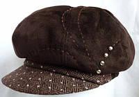 Шапка из  коричневой  кожи с твидовым   козырьком Samhita, фото 1