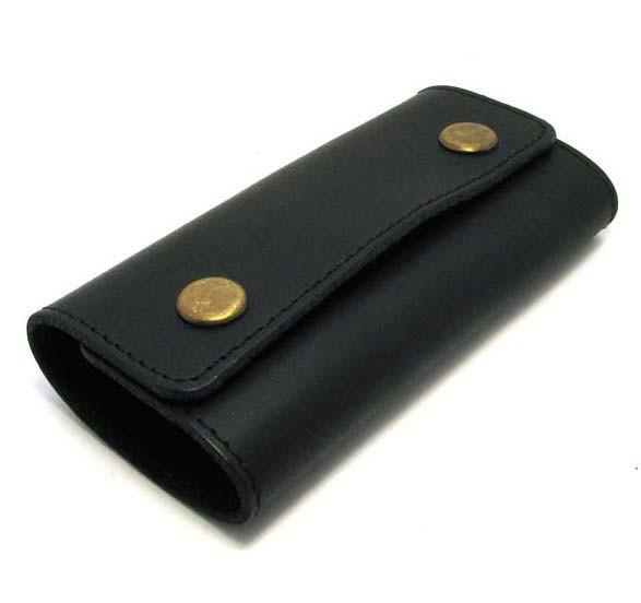 Кожаная ключница черная брелок чехол для ключей 11,5см натуральная кожа