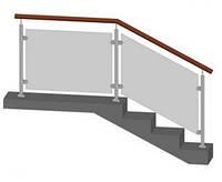 Перила | Поручень деревянный, стойками из нержавейки и стеклянным наполнением ТИП-12