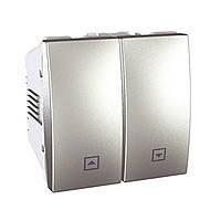 Выключатель Schneider-Electric Unica кнопка д/жалюзи алюминий MGU3.207.30
