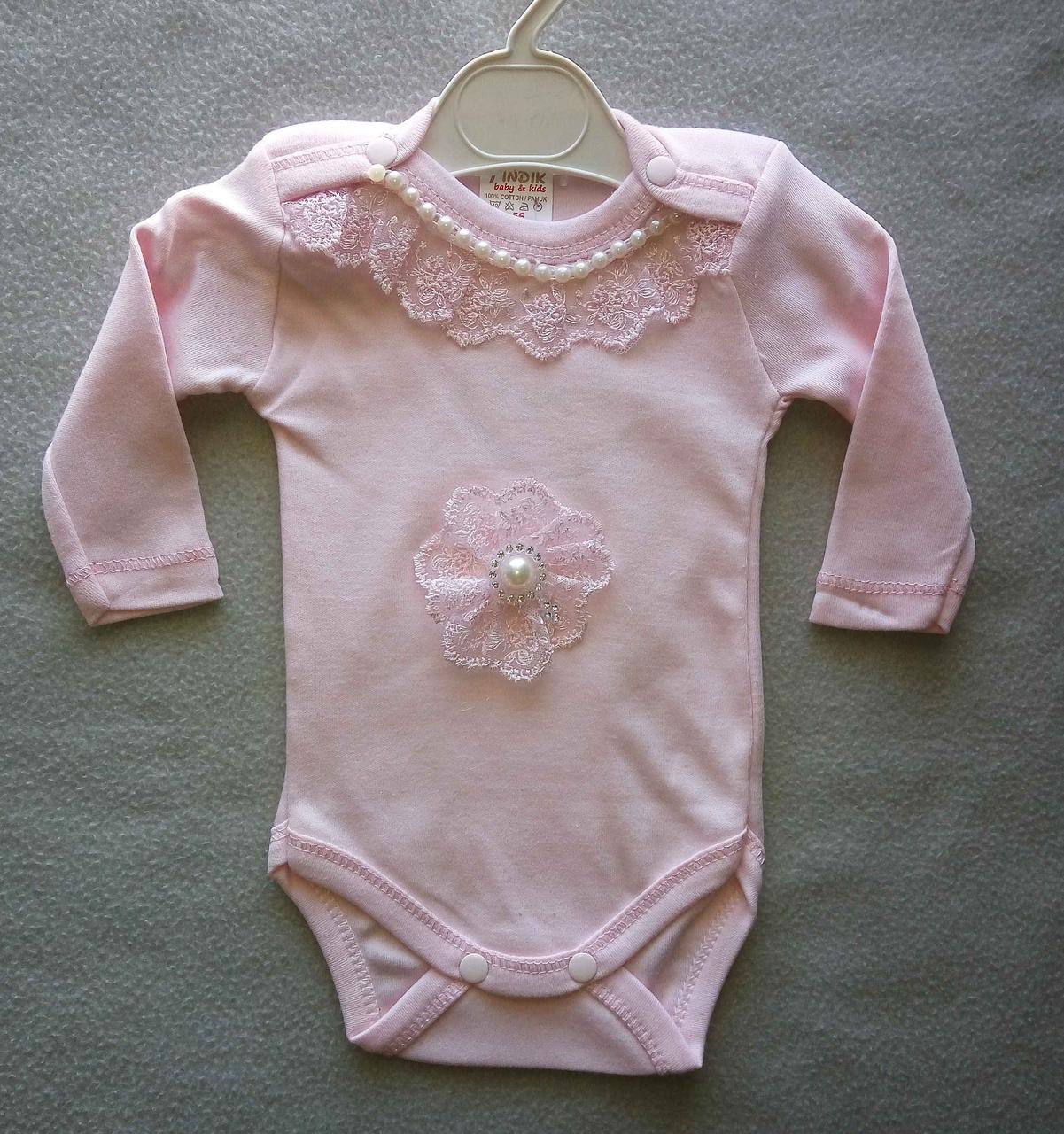 f7f580063617 Нарядный боди для новорожденных с длинным рукавом на девочек 56-68 — ...