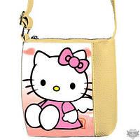 Детская сумка для девочки с принтом Hello Kitty бежевая