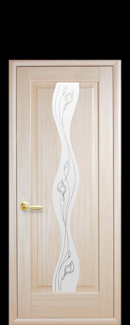 """Межкомнатные двери """"Волна"""" со стеклом сатин и рисунком"""