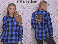 Рубашка женская с рисунком из пайеток ТМ Elite Size фабрика Украина большой размер ( р. 50-58 )