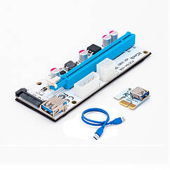 """Рейзер Riser Adapter VER 008S USB 3.0 Extension Cable & 4pin 6pinb to SATA Power Cable """"Over-Stock"""""""