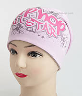 Осенняя удлиненная шапка  для девочки в розовом и малиновом цвете.