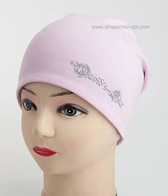 "Осенняя удлиненная шапка  для девочки ""Таня"" розового цвета."