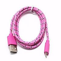 Кабель Lesko microUSB/USB 1m Розовый USB 2.0 в оплетке для смартфона планшета и навигатора