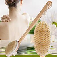 Щетка овальная Inter Vion с деревянной съемной ручкой для ванной, спа, сухого массажа, 1 шт.