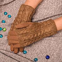 Женские сенсорные перчатки бежевого цвета на меху с вязаными митенками Paidi 76-4 04-beige 7,5