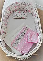 """Набор постельного белья """"Балерина"""" дизайнерский 7-в-1, бело-розовый"""