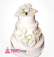 """Свадебный торт на заказ """"Белые орхидеи"""""""