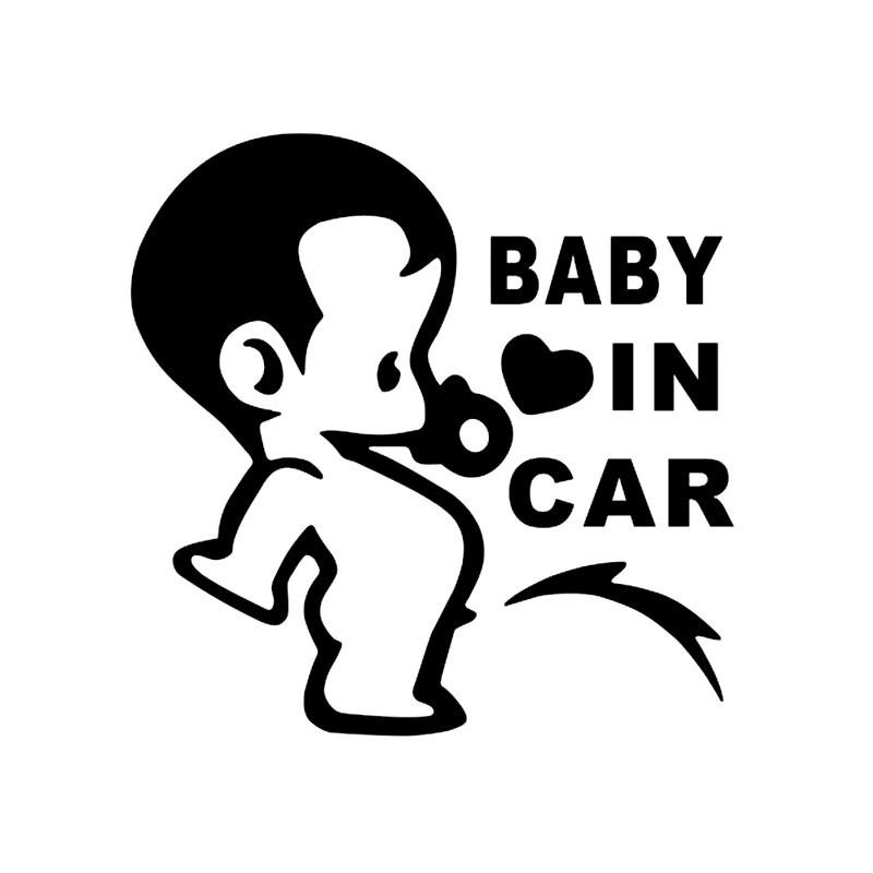Наклейки на автомобиль - Ребенок в машине - черные