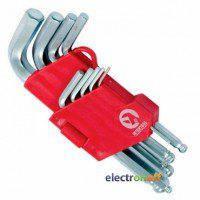 Набор Г-образных шестигранных ключей с шарообразным наконечником HT-0605 Intertool 9 единиц 1.5-10 мм Cr-V 55 HRC Small
