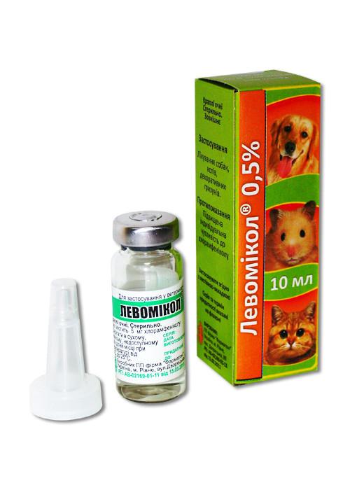 Капли Левомикол глазные для собак, кошек и кроликов 10 мл Фарматон