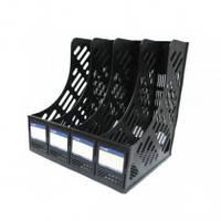 Лоток для паперів вертикальний збірний на 4 відділення Economix, пластик, чорний Е31902