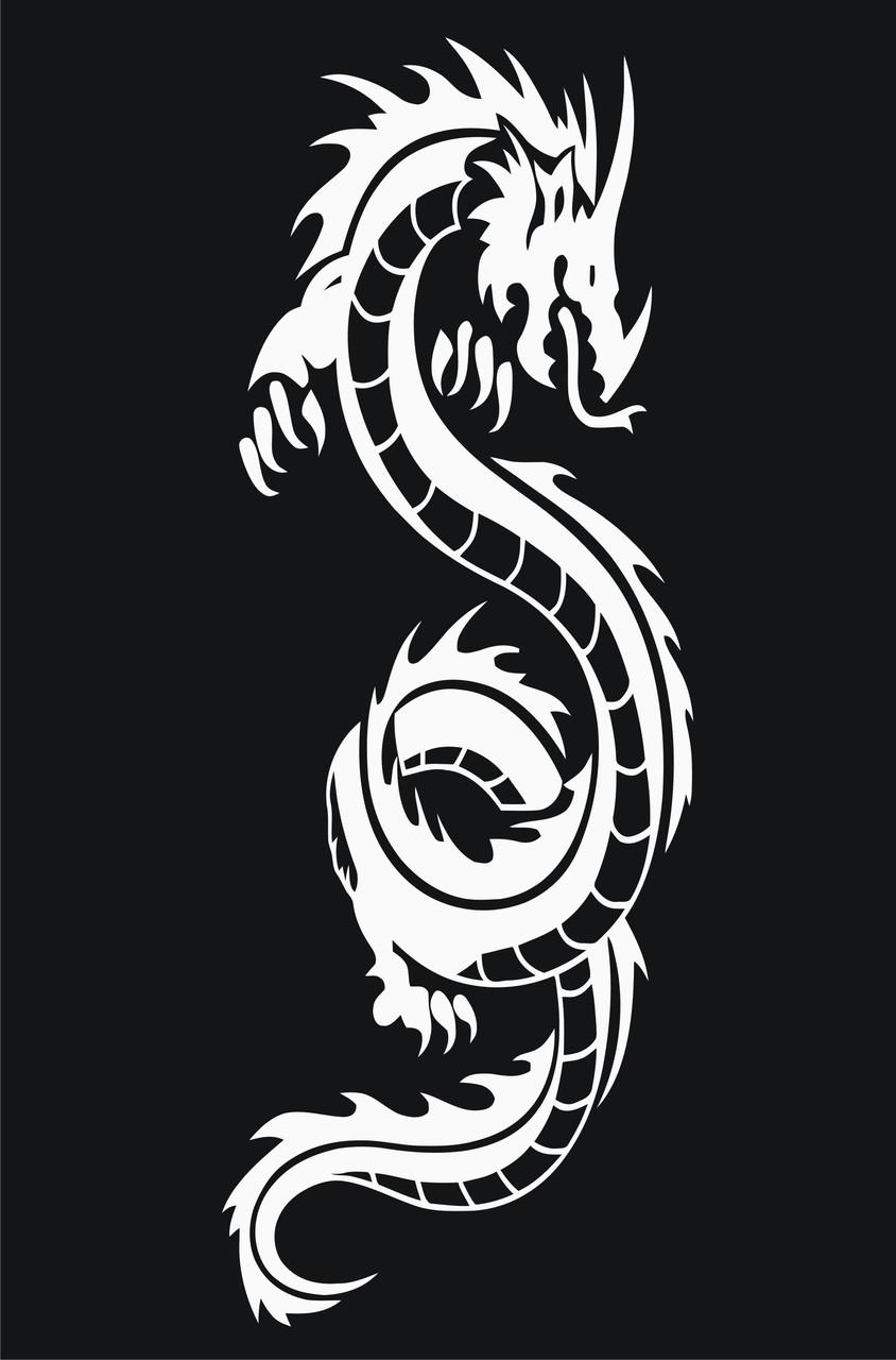 Наклейки на автомобиль - Дракон - Белые
