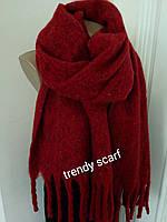 Женский кашемировый теплый шарф. Темно-красный с крупной бахромой. 180/60