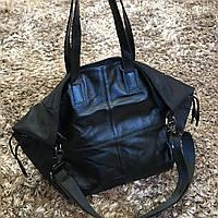 Женская большая спортивная сумка кожа текстиль, фото 1