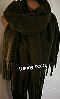 Женский кашемировый теплый шарф. Темно-зеленый, болотный с крупной бахромой. 180/60