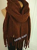Женский кашемировый теплый шарф. Коричневый, Темно-коричневый с крупной бахромой. 180/60