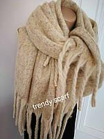 Женский кашемировый теплый шарф. Коричневый с крупной бахромой. 180/60
