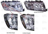Фара передняя левая сторона электро H7+H3 черн. отражатель  ( С КОЛЬЦОМ - СМ. РИС.) SKODA FABIA 05-07