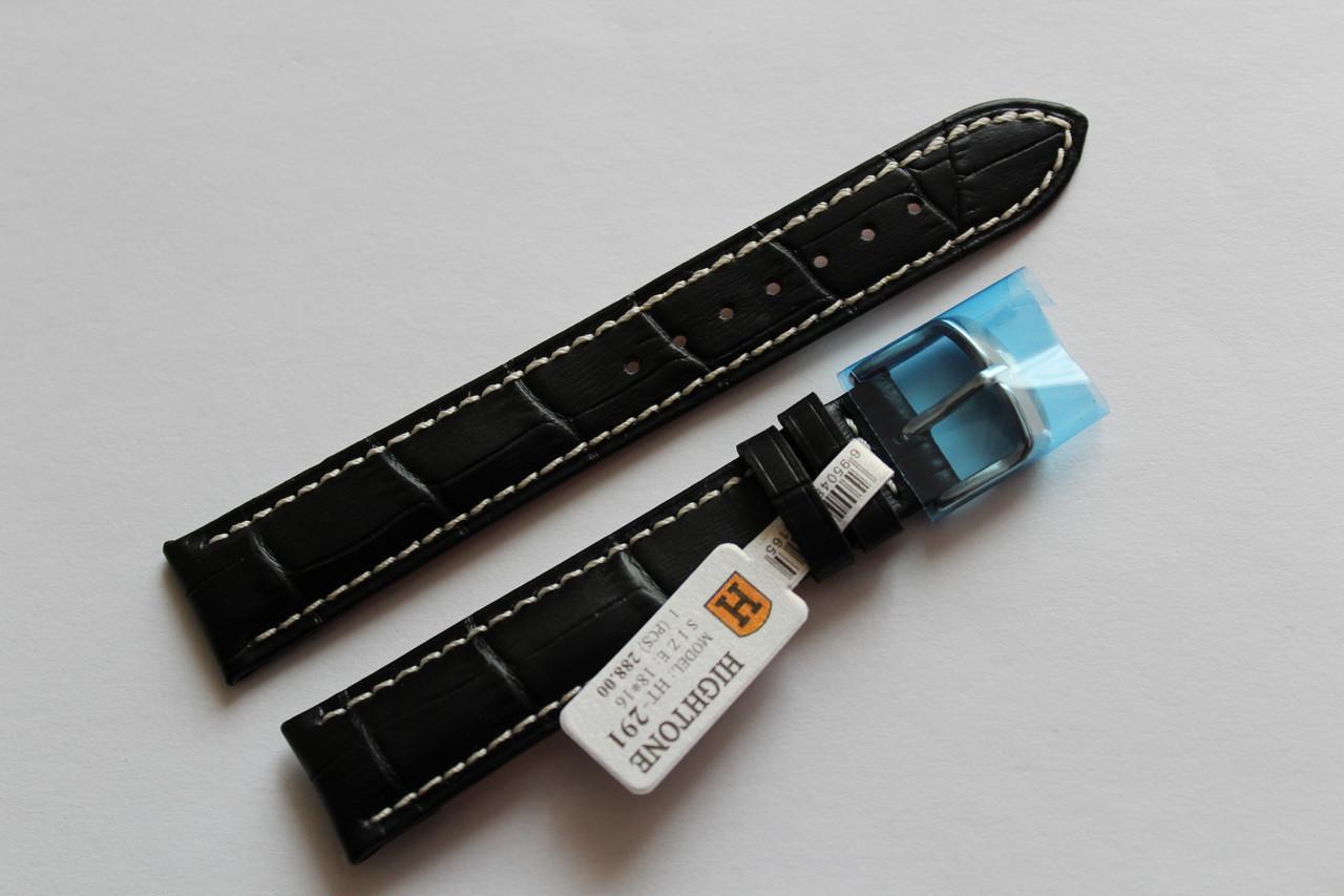 Кожаный ремень для  наручных часов HIGHTON-черный выделкой под крокодил18мм с белой прошивкой