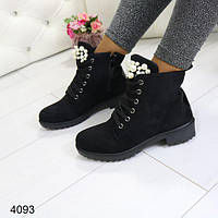 Ботинки женские черные, красивые, женская демисезонная обувь