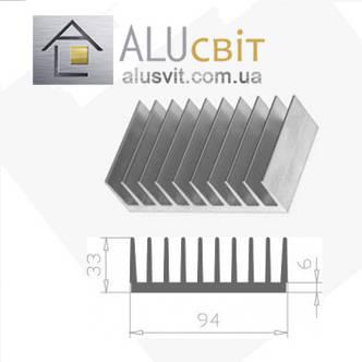 Радиаторный алюминиевый профиль  94х33 без покрытия (радиатор охлаждения), фото 2