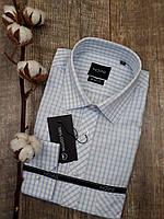 Рубашка белого цвета в голубую клетку 100%хлопок