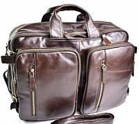 Дорожная кожаная сумка рюкзак 1011 Coffee классический деловой портфель из натуральной кожи