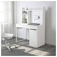 Компьютерный стол с надстройкой MICKE 105x50 см белый