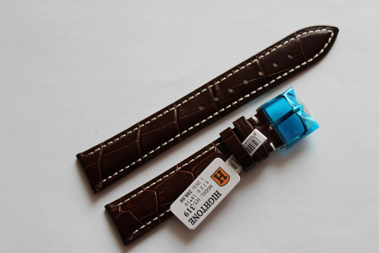 Кожаный ремень для  наручных часов HIGHTON- темно-коричневый выделкой под крокодил18мм с белой прошивкой