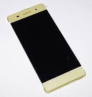Дисплей (экран) для Sony F3111 Xperia XA,F3112,F3113,F3115,F3116 + тачскрин,золотистый Lime Gold,с рамкой, фото 1