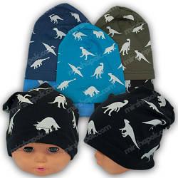 Детские трикотажные шапки для мальчиков с принтом, р. 50-52
