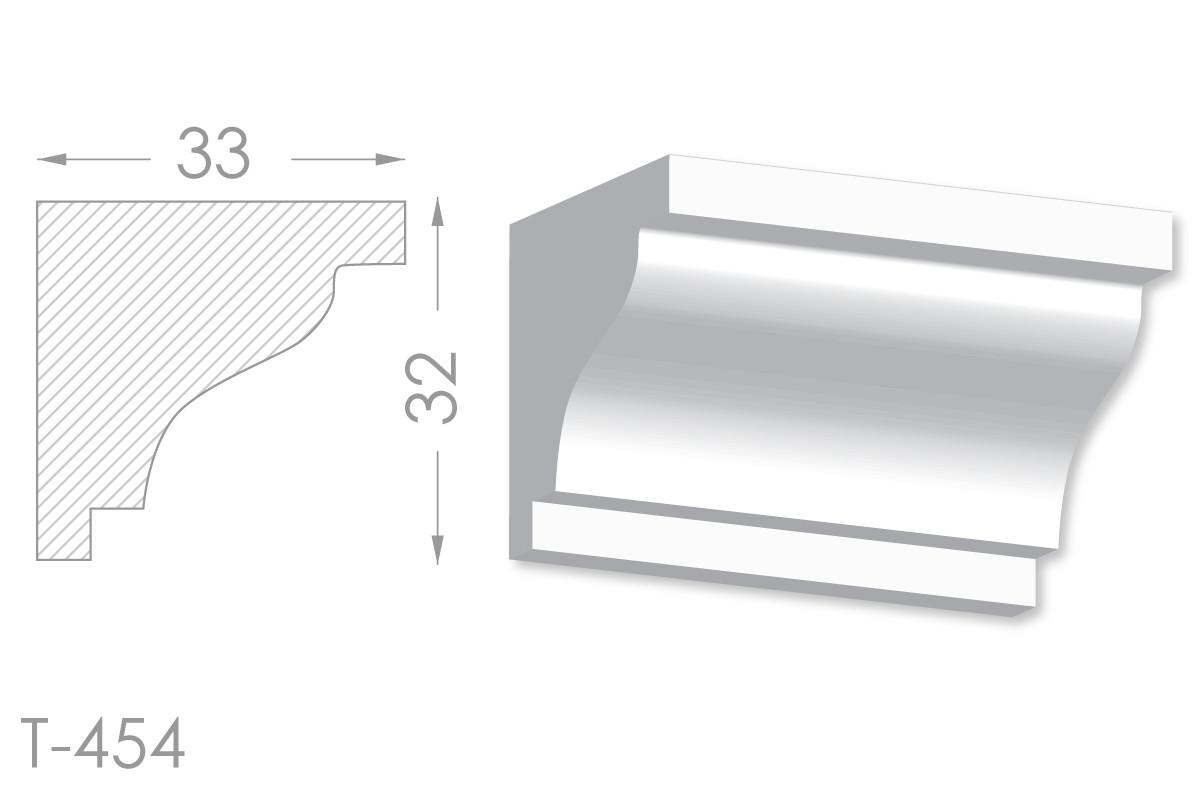 Карниз з гладким профілем, молдинг стельовий з гіпсу т-454