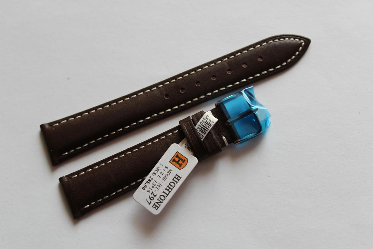 Кожаный ремень для  наручных часов HIGHTON-темно-коричневый гладкий18мм с белой прошивкой