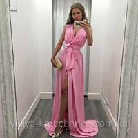 Розовое шифоновое платье впол Роза