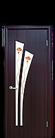 """Межкомнатные двери """"Лилия"""" со стеклом сатин и цветным рисунком"""