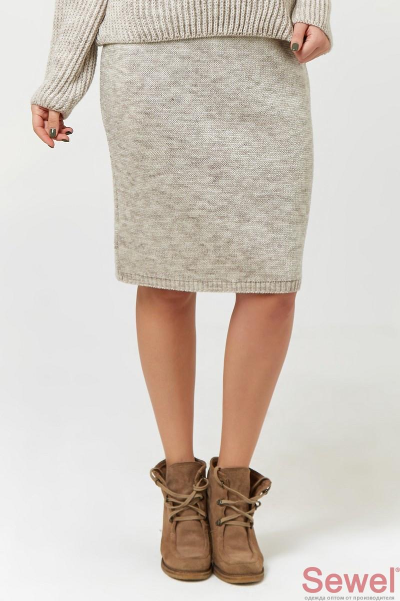 Женская теплая юбка с люрексом