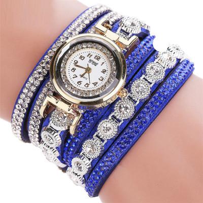Женские часы браслет со стразами и синим браслетом